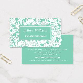 Cuidador feminino floral da enfermeira do verde cartão de visitas