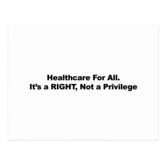 Cuidados médicos para tudo, um direito, não um cartão postal