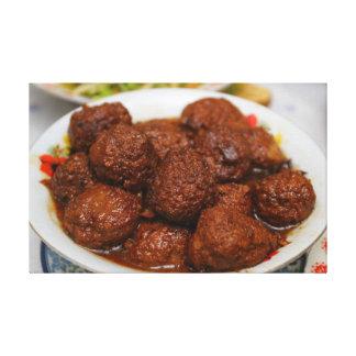 Culinária chinesa - bola de carne impressão em tela
