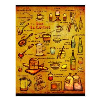 Culinária do La de Dans - cartão francês do vocab Cartão Postal
