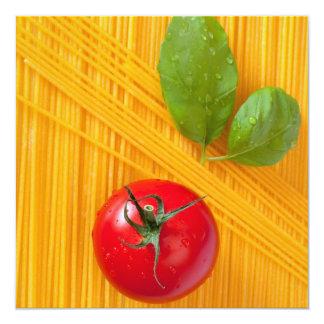 Culinária italiana convite quadrado 13.35 x 13.35cm