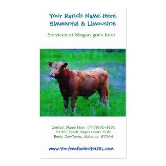Cultivo do gado do rancho da carne modelo cartoes de visitas