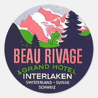 Cume da suiça de Interlaken das etiquetas das viag Adesivo Em Formato Redondo