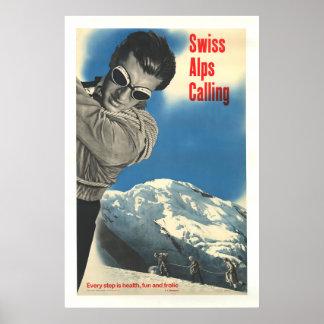 Cumes suíços que chamam, poster do esqui do