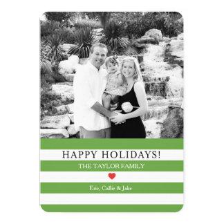 Cumprimento alegre do Natal da foto das listras Convite 12.7 X 17.78cm