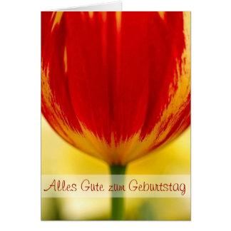 Cumprimento alemão do aniversário da tulipa vermel cartoes