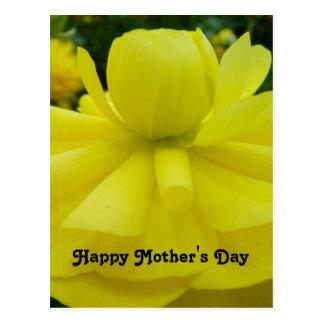 Cumprimento amarelo do feliz dia das mães da flor cartão postal