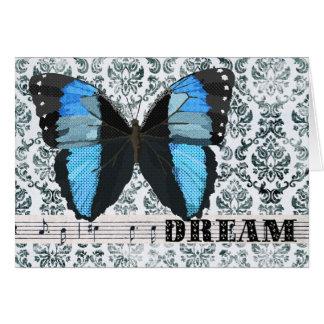 Cumprimento azul do sonho da borboleta cartão comemorativo