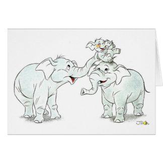 Cumprimento da família do elefante cartão