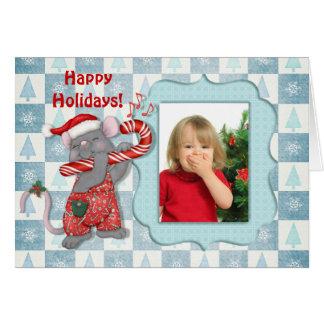 Cumprimento da foto do rato da música do Natal Cartão Comemorativo