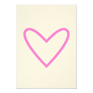 Cumprimento de papel com coração cor-de-rosa convite 12.7 x 17.78cm