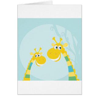 Cumprimento de papel com girafas amarelos cartão comemorativo