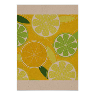 Cumprimento de papel com limões convite 12.7 x 17.78cm