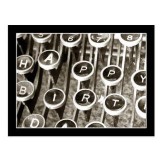 Cumprimento do aniversário da máquina de escrever cartão postal