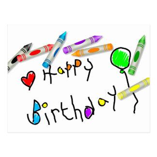 Cumprimento do aniversário do pastel cartão postal