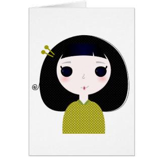 Cumprimento do design com gueixa de Japão Cartão Comemorativo