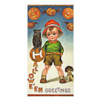 Cumprimento do Dia das Bruxas do vintage Cartão Com Foto