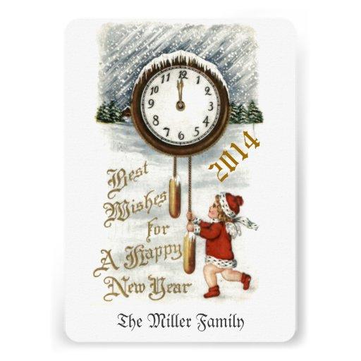 Cumprimento do feliz ano novo do vintage convites