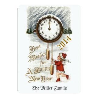 Cumprimento do feliz ano novo do vintage convite 12.7 x 17.78cm