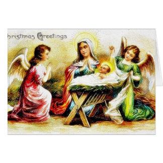 Cumprimento do Natal com Mary, jesus infantil com  Cartão