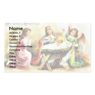 Cumprimento do Natal com Mary, jesus infantil com  Cartoes De Visitas