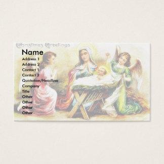 Cumprimento do Natal com Mary, jesus infantil com Cartão De Visitas