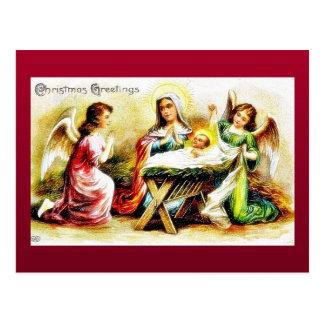 Cumprimento do Natal com Mary, jesus infantil com  Cartao Postal