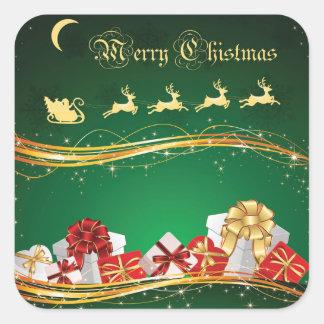 Cumprimento do Natal com Papai Noel & rena Adesivo Quadrado