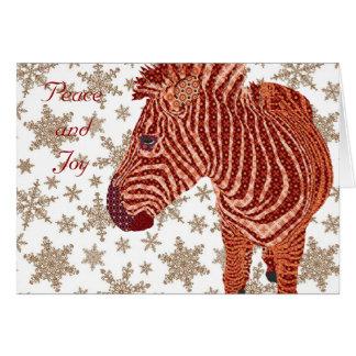 Cumprimento do Natal da zebra do vintage Cartão Comemorativo