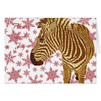 Cumprimento do Natal da zebra II do vintage Cartão Comemorativo