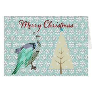 Cumprimento do Natal do floco de neve do azul de p Cartoes