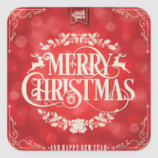 Cumprimento do Natal vermelho & de creme & do ano Adesivo Quadrado