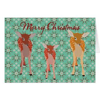 Cumprimento festivo do Natal da família dos cervos Cartão Comemorativo