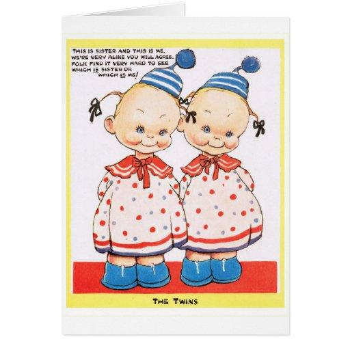 Cumprimento gêmeo do feliz aniversario das irmãs cartoes