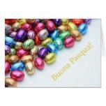 Cumprimento italiano da páscoa dos ovos de chocola cartão