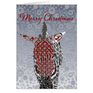Cumprimento ornamentado do Natal da prata festiva Cartão Comemorativo