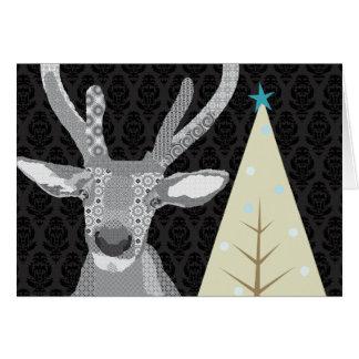 Cumprimento preto & branco do Natal do amigo (alce Cartão