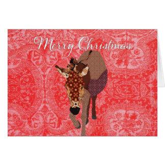 Cumprimento vermelho alegre do Natal de Moses Cartão Comemorativo