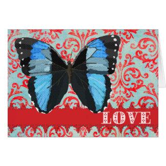 Cumprimento vermelho do damasco do amor azul da cartão comemorativo