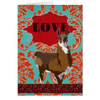 Cumprimento vermelho do damasco do amor dourado do cartão comemorativo