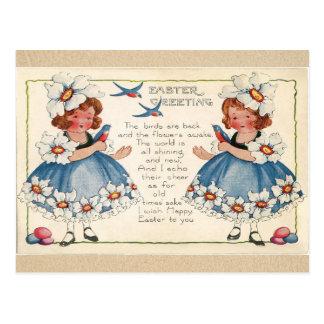 Cumprimentos antigos das meninas da páscoa e dos cartão postal