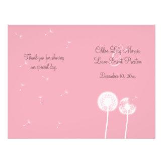 Cumprimentos cor-de-rosa que Wedding o programa Panfleto Personalizado