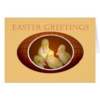Cumprimentos da páscoa, patinhos amarelos no ovo cartão comemorativo