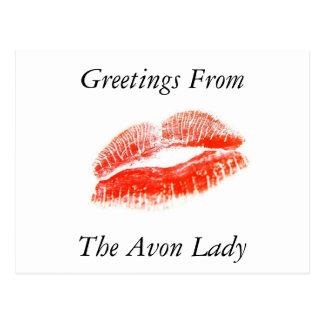 Cumprimentos da senhora cartão de Avon
