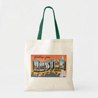 Cumprimentos das viagens vintage de Boston Sacola Tote Budget