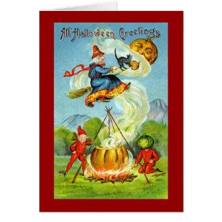Cumprimentos de Witchy o Dia das Bruxas do vintage Cartão Comemorativo