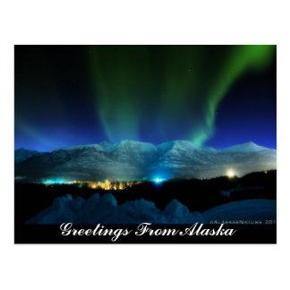 Cumprimentos do cartão da Aurora de Alaska