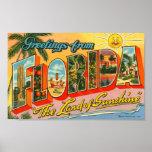 Cumprimentos do cartão do vintage de Florida Pôsteres