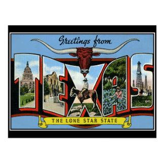 Cumprimentos do cartão do vintage de Texas