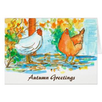 Cumprimentos do outono das galinhas da galinha da cartão comemorativo